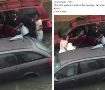 Groom And His Oyinbo Bride Stranded In Lekki Floods After Their Wedding.
